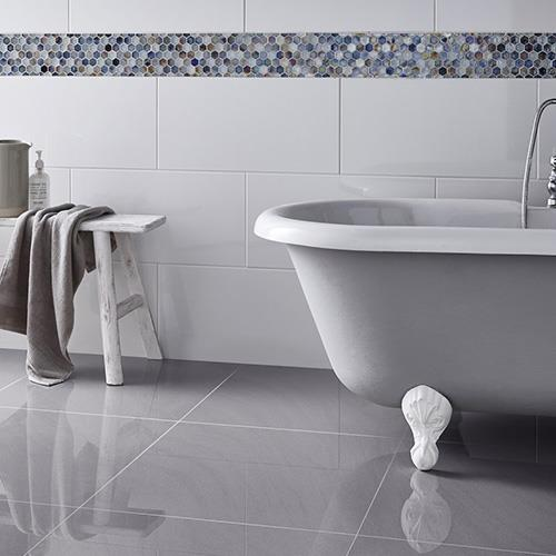 Grey Gloss Ceramic Floor Tiles