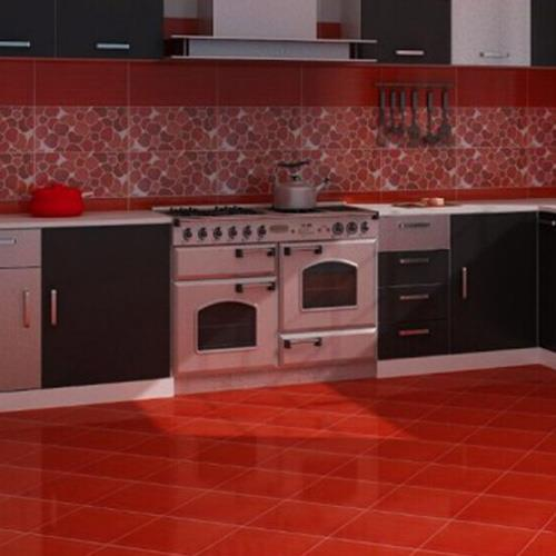 Red Polished Ceramic Floor Tiles