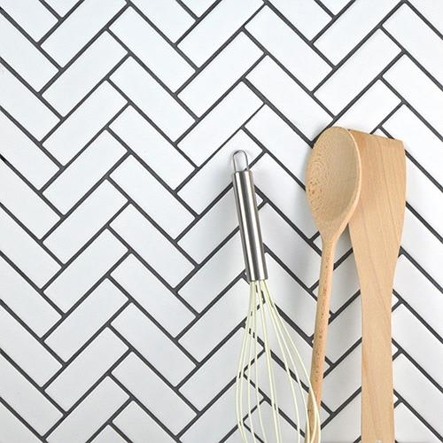 White Herringbone Mosaic Tiles